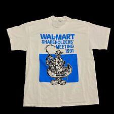 VTG 90s Single Stitch T Shirt Fits XL Walmart Shareholders Meeting 1991 Graphic