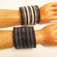 Set of 2 Black White Wide Bling Boho Cuff Handmade Bracelets Bali Seed Bead