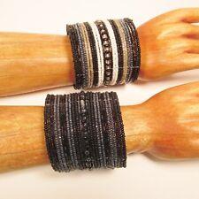 Set of 2 Black White Wide Bling Boho Cuff Handmade Bracelets Bali Seed Bead