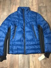 New Michael Kors PACIFIC BLUE FULL ZIP DOWN PUFFER JACKET tech COAT SZ Small S