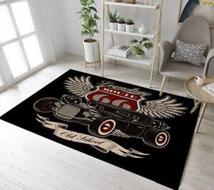 Vintage American Hot Rod Route 66 Area Rugs Bedroom Carpet Living Room Floor Mat