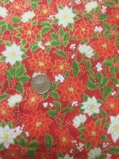 Seasons Greetings Poinsettia Fabri-Quilt 100 Cotton Quilting Fabric 103-311