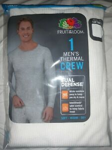 Fruit of the Loom Men's Thermal Crew Shirt White Large Waffle Knit
