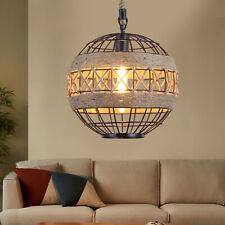 More details for vintage retro industrial loft hemp rope pendant light iron retro ceiling lamp uk