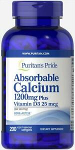 Puritan's Pride Absorbable Calcium with Vitamin D 3 1000iu Softgels, 1200 mg
