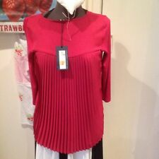 BNWT Ladies Marks & Spencer Swing Blouse HOT PINK Pleated Top FUNKY Size 10