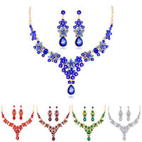 Fashion Crystal Tear Drop Earrings Elegant Necklace Party Wedding Jewelry Set NT