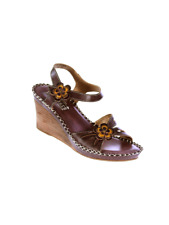 L'ARTISTE LILITH ITALIAN  HAND PAINTED FASHION SANDALS BROWN EU 38 US 7.5 - 8