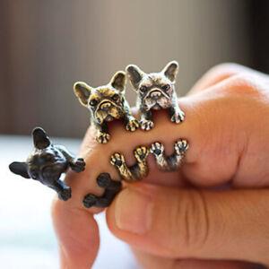 Adjustable Retro Bulldog Ring Unisex Animal Pit Bull Dog Punk Jewelry Ring