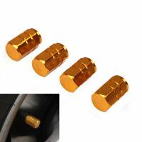 4PCS Gold Wheel Tyre Tire Valve Stems Air Dust Cover Screw Caps Auto Truck Bike