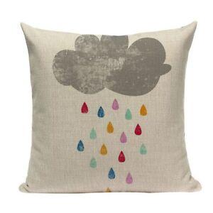 Rainbow Raincloud Cushion Cover, rain, cotton canvas, nursery, clouds, raindrop