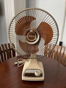 Vintage Galaxy Brown Beige Desk Fan