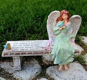 Memorial Angel Bench 11 inch Garden Statue Your Life was a Blessing Cat Dog