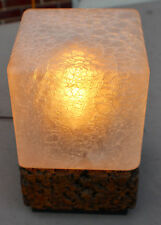 Vintage Midcentury Modern Cube Cork Glass Shade Lamp c. 1960's-70's  Eames Era