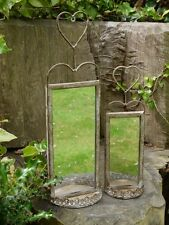 S/2 Ornate Antique Shabby Chic Vintage Metal Garden Wall Heart Hanging Mirrors