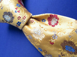 Frank Stella Golden Floral Silk Tie Made in Italy A7318