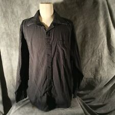 Eighty Eight Men's Black Cotton Button Down Shirt with White pinstripes