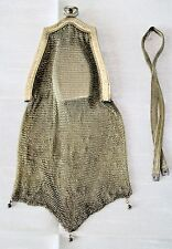 VERY SCARCE ANTIQUE MESH PURSE w/HANGING COMPACT Vintage, Gold-tone, Needs Fixes