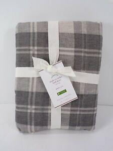 "Pottery Barn Turner Plaid Print Bed Skirt Full Gray Multi 14"" Drop #8248"