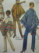 VTG 70s Simplicity 8932 Womens LINED PONCHO Sew Pattern