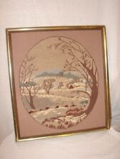 Hand Crafted Needlepoint Winter Scene Picture  Wood Frame Landscape Picture