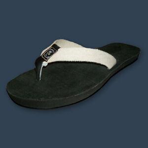 Ecolyte Hemp Flip Flop Sandals Vegan Black/Natural  Women  7 8 9 10