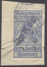 Germany Hamburg revenue 0,10 M on 20 Pf unlisted Stempelmarke fiscal