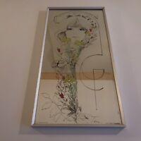 N2106 Lithographie sérigraphie miroir verre encadrée signée TARA STAPCO NY USA