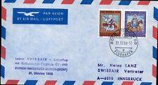 416382) Schweiz Pro Patria Nr. 838+839 auf Flugpost RF68.23a Zürich-Innsbruck