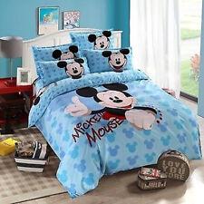New Factory Cheap Light Blue Mickey Mouse Cotton Blend Duvet Cover Bedding Set @