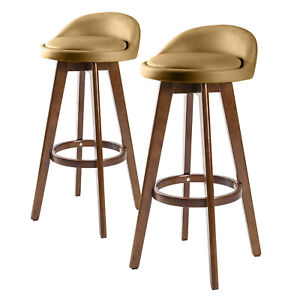 2 x Oak Wood Bar Stool Wooden Barstool Dining Chair Kitchen Leather LEILA COFFEE