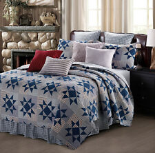 CAROLINA BLUE STAR Full Queen QUILT SET : PRIMITIVE COUNTRY CABIN LODGE