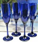 CHAMPAGNE GLASSES SET OF 4 TALL DEEP COBALT BLUE GLASS STEMMED GLASSEWARE