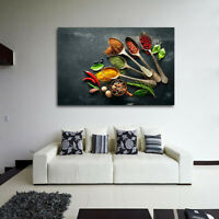 Kitchen Wall Art with Spices, Colorful Kitchen Canvas Picture Painting S