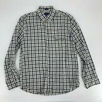 J.Crew Mens Slim Flannel Plaid Shirt Size L Long Sleeve Button Up Gray Cotton E8