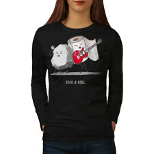 Wellcoda Rock Roll Pun Womens Long Sleeve T-shirt, Ambiguity Casual Design