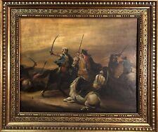 quadro antico dipinto a mano ad olio battaglia con cavalli fiammingo cornice oro
