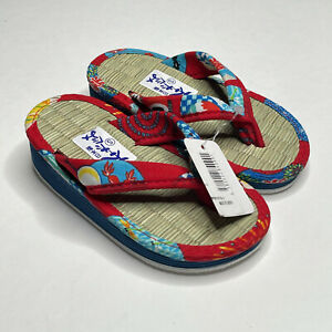 Japanese Traditional Straw Wedge Flip Flop Sandal Toddler Size Small 7-8 Red