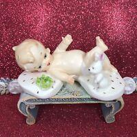 Vtg Napco Baby Boy In Diaper On Back W/ White Bunny Rabbit Easter Figurine Japan