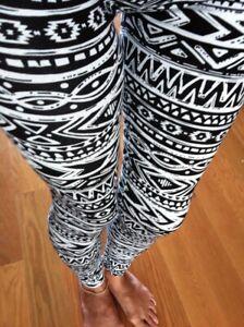 Black White TRIBAL AZTEC Leggings pants Cotton S M L 2-12
