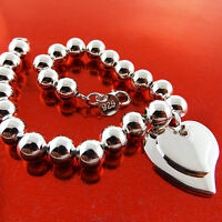 BRACELET BANGLE GENUINE REAL 925 STERLING SILVER S/F 2 HEARTS BEAD CUFF DESIGN