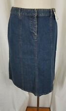 Geoffrey Beene Sport Stretch Denim Blue Jean Midi Long Skirt Womens 8 Vintage
