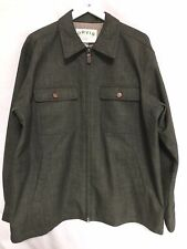 "Mens Orvis green Jacket leather trim size L Harrington Style Smart 25"" P2P"