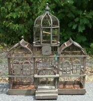 Beautiful Vintage Antique Bird Cage Aviary Wood Wire Victorian