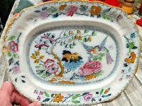 "Beautiful Small China Oval Ashworth Bros. Bird of Paradise Serving Platter  10"""