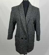 Vintage Black Speckled Tweed Two Button Blazer Style Coat Size 9/10