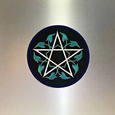 Pentagram Patch — Iron On Badge Embroidered Motif — Teal White Satanic Symbol