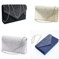 Ladies Womens Large Evening Satin  Diamante Ladies Clutch Bag Party Envelope Bag