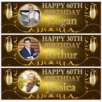 Personalised Birthday Banner Photo Gold Adult Party Bunting Poster Decoration