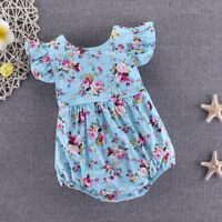 Outfits Clothes Infant Floral Baby Romper Girl Bodysuit Ruffles Sleeve Sunsuit